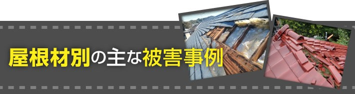 屋根材別の主な被害事例