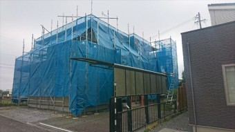 飯田市大瀬木外壁塗装足場1