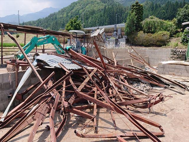長野県飯島町牛舎解体14