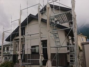 長野県駒ヶ根市外壁屋根塗装仮設足場2
