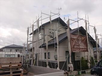 長野県駒ヶ根市外壁屋根塗装仮設足場3