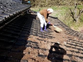 屋根上の枯葉の掃除です