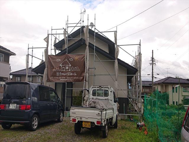 長野県駒ヶ根市外壁屋根塗装仮設足場4