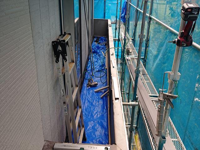 ベランダ修復手すり防水シート1