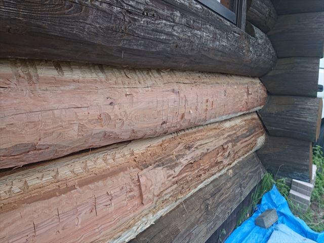 長野県飯島町ログハウス丸太外壁修繕14