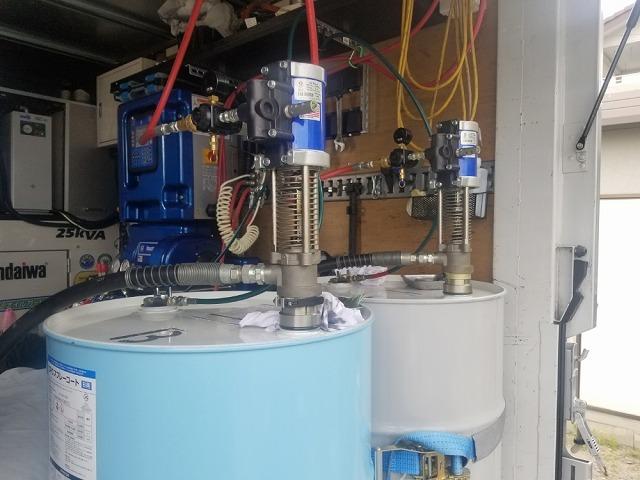 超速ウレタン防水の車載システムです