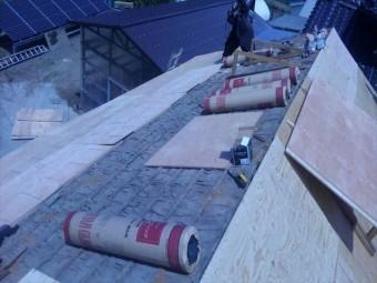 長野県飯島町蔵屋根葺き替えルーフィング貼り3