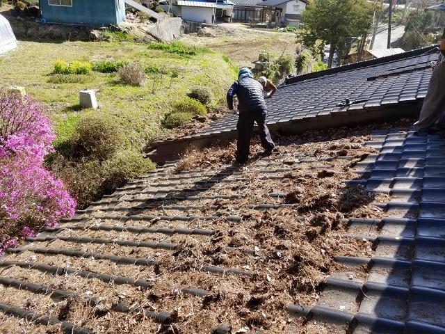 屋根上の枯葉の掃除です①