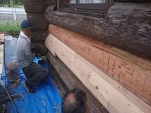 長野県飯島町ログハウス木部修繕2