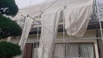 長野県駒ヶ根市モルタル外壁塗装足場作業11