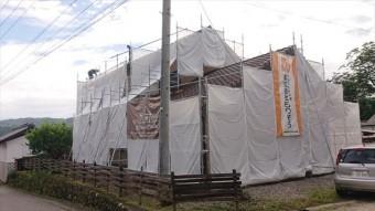 長野県下條村外壁塗装サンワ足場3