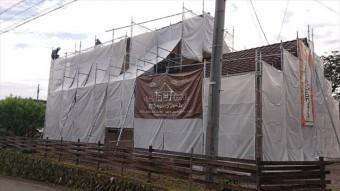 長野県下條村外壁塗装サンワ足場4