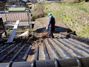 屋根上の枯葉の掃除です ブロアーで飛ばします