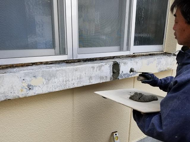 モルタルを塗っていきます。