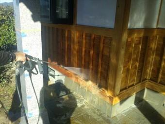 駒ヶ根市腰壁洗浄5