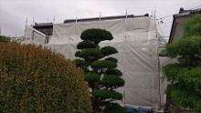 長野県駒ヶ根市モルタル外壁塗装足場作業3