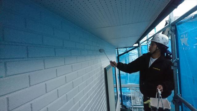 松本市外壁塗装ALC 上塗り1