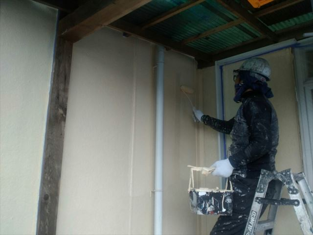 飯田市松尾リフォーム外壁上塗り1