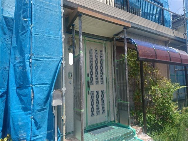 喬木村屋根外壁塗装養生1