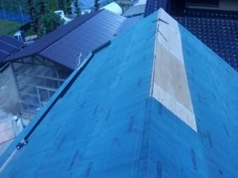 長野県飯島町蔵屋根葺き替えルーフィング貼り6
