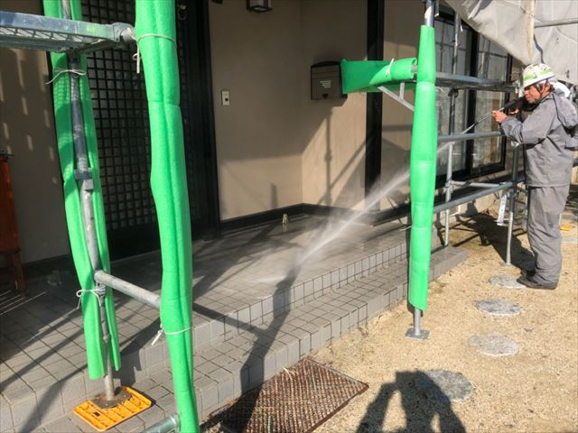 除菌高圧洗浄開始です