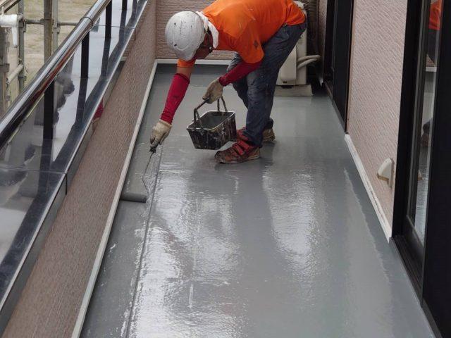 飯田市屋根塗装_ベランダ防水1