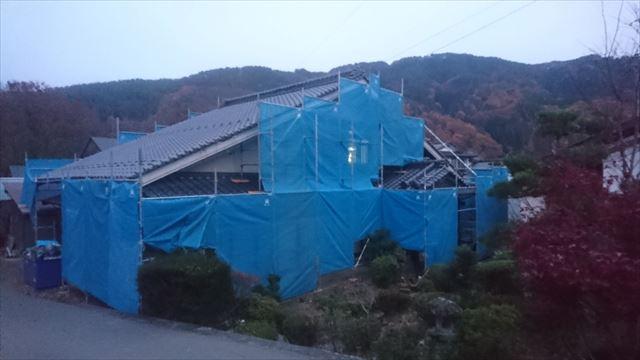 駒ヶ根市下平外壁塗装足場作業4