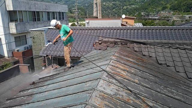 阿南_屋根塗装シリコン_洗浄
