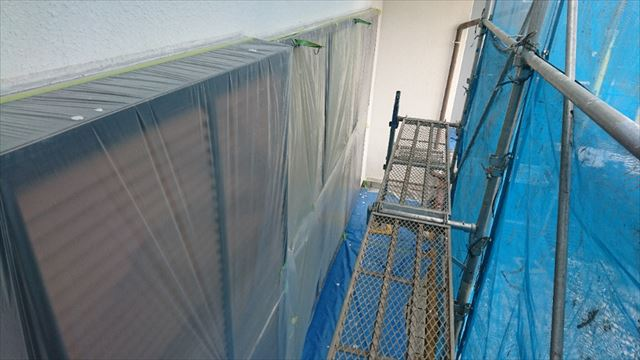 塩尻市屋根カバー外壁塗装養生5