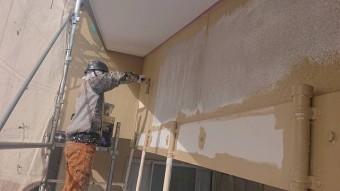 下條村陽皐 外壁塗装 中塗り4