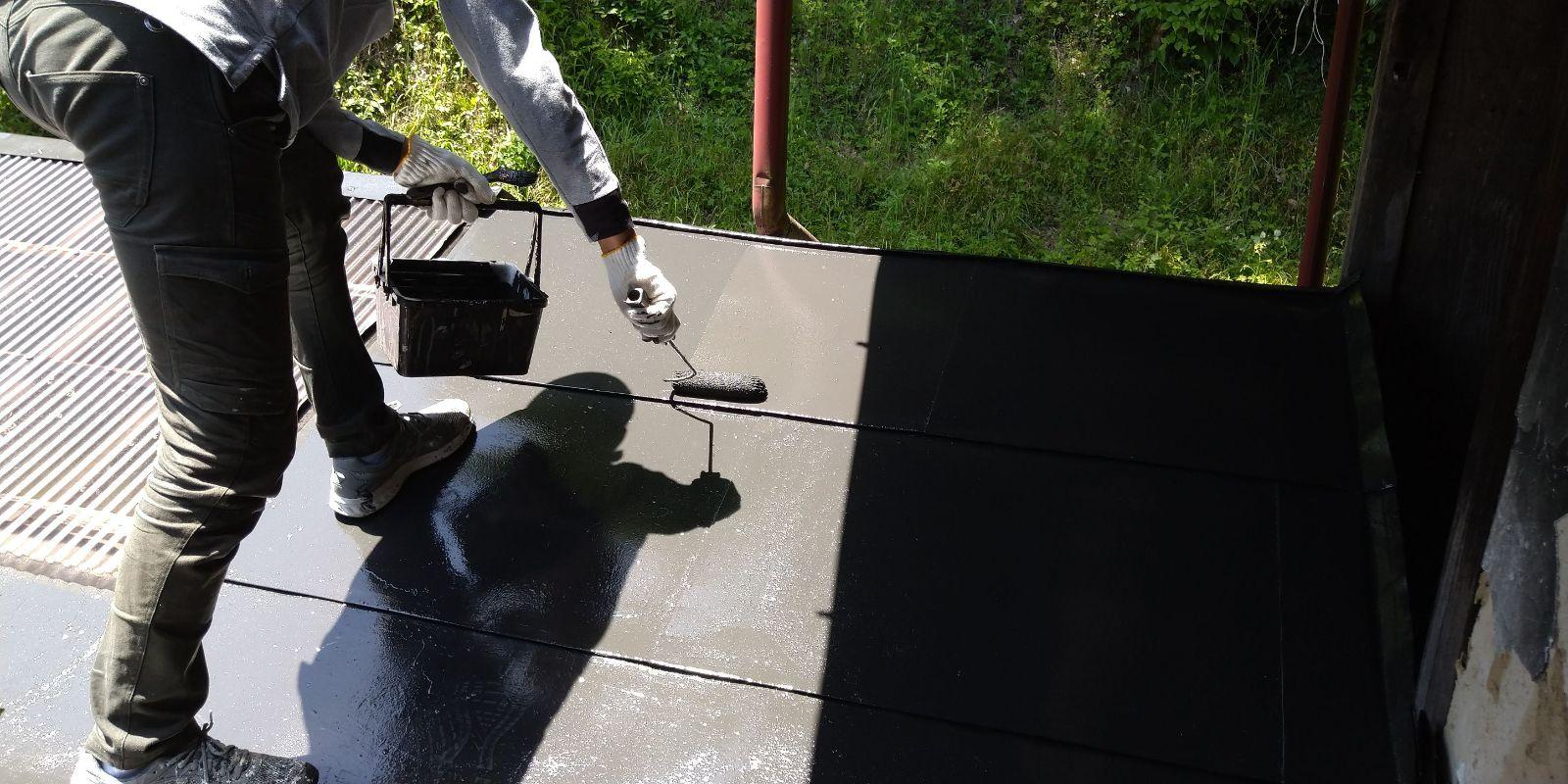 下條屋根塗装_上塗り2