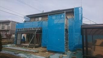駒ヶ根市赤穂外壁ベランダ工事足場架設4