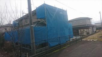 駒ヶ根市赤穂外壁ベランダ工事足場架設6
