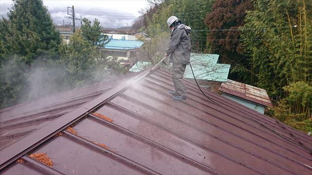 宮田村トタン屋根塗装洗浄4