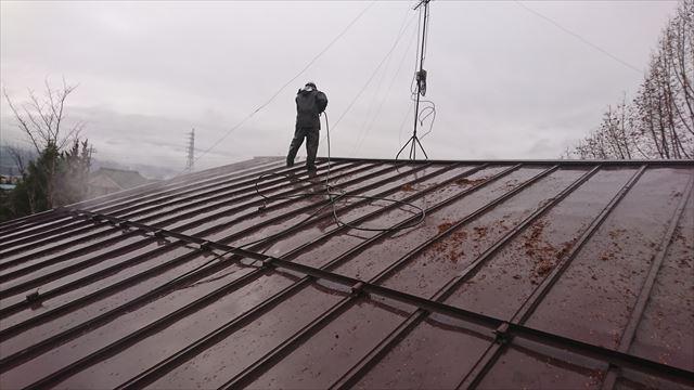 宮田村トタン屋根塗装洗浄5
