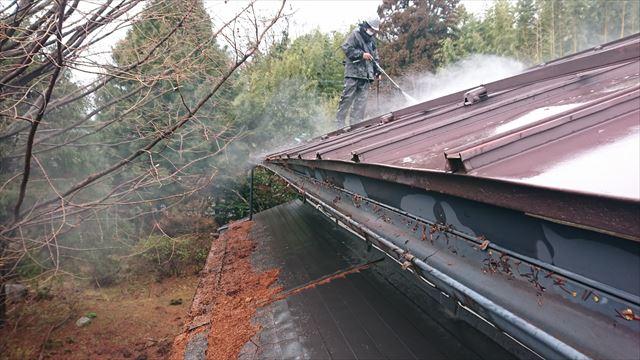 宮田村トタン屋根塗装洗浄6