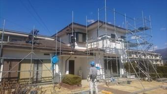 長野県塩尻外壁屋根カバー足場2