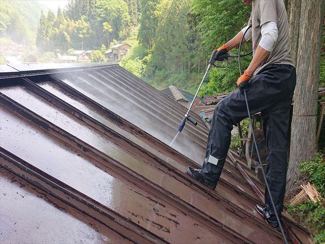 飯田市上村樹液被害トタン屋根洗浄5