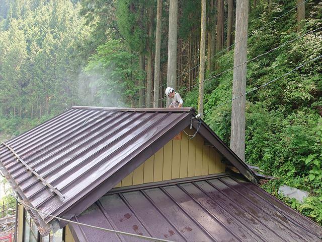 飯田市上村樹液被害トタン屋根洗浄4
