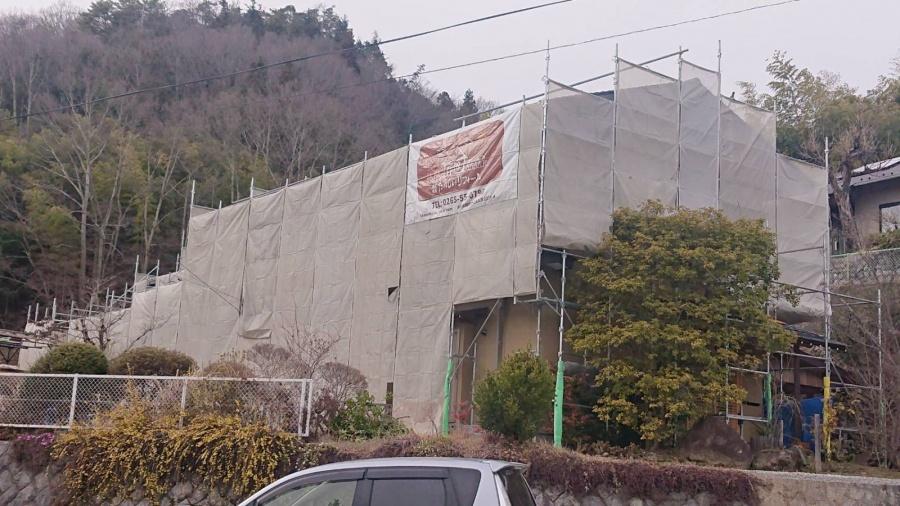 下條村外壁トタン屋根塗装足場8