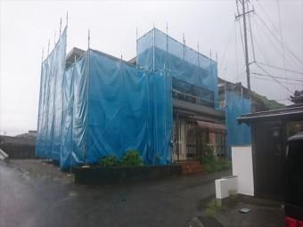 下伊那郡喬木村屋根外壁塗装足場メッシュ2