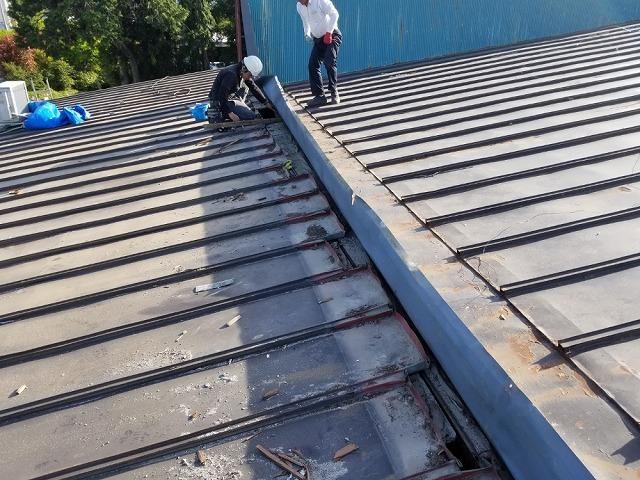 屋根上の外壁の撤去開始です。⑤