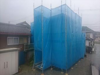 下伊那郡喬木村屋根外壁塗装足場メッシュ1