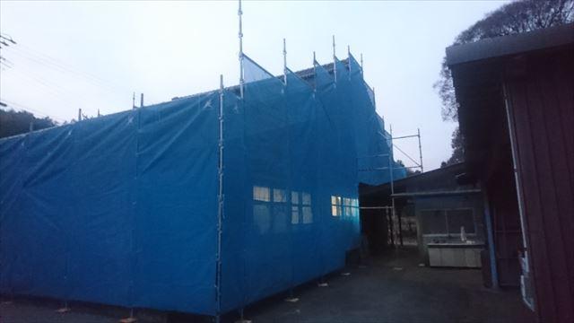 駒ヶ根市下平外壁塗装足場作業3