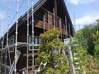 長野県中川村ログハウス屋根上塗り6
