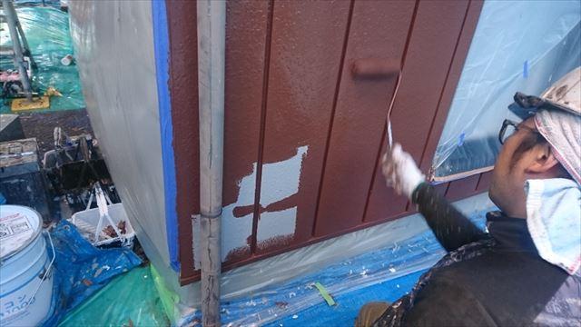 駒ヶ根市外壁塗装金属中塗り6