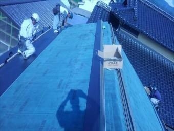 長野県飯島町蔵屋根葺き替えルーフィング貼り8