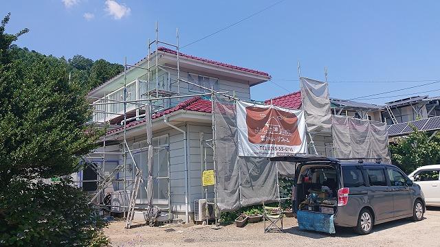 駒ケ根市下平外壁塗装足場6