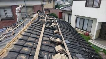 飯田市黒田 火災保険棟瓦組み直しバラシ1