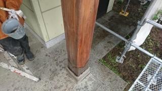 木部アク洗い完成柱